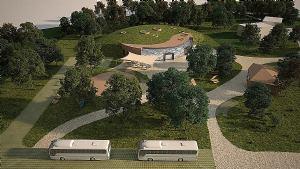 U planu je atraktivni centar za posjetitelje u blizini Plitvica
